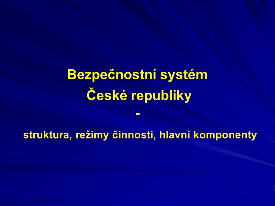 MOC VÝKONNÁ - STÁTNÍ SPRÁVA - MINISTERSTVA Ministerstvo obrany součástí MO je Generální štáb AČR, který zabezpečuje velení armádě (ústřední správní úřady v čele s členem vlády a jim podřízené správní úřady) Armáda České republiky vojenské útvary a zařízení vojenské záchranné útvary vojenské správní úřady - krajská vojenská velitelství (sídla a územní obvody shodné s krajským členěním včetně hl.