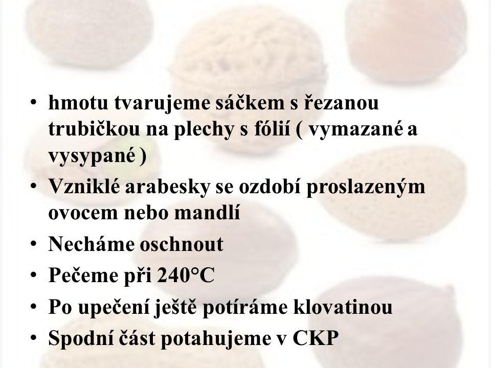 Mandlová hmota nepečená SUROVINY: Mandle – mleté Persiko Cukr krupice Bílky / žloutky Marmeláda – meruňková Citropasta Vanilín Proslazená pomerančová kůra