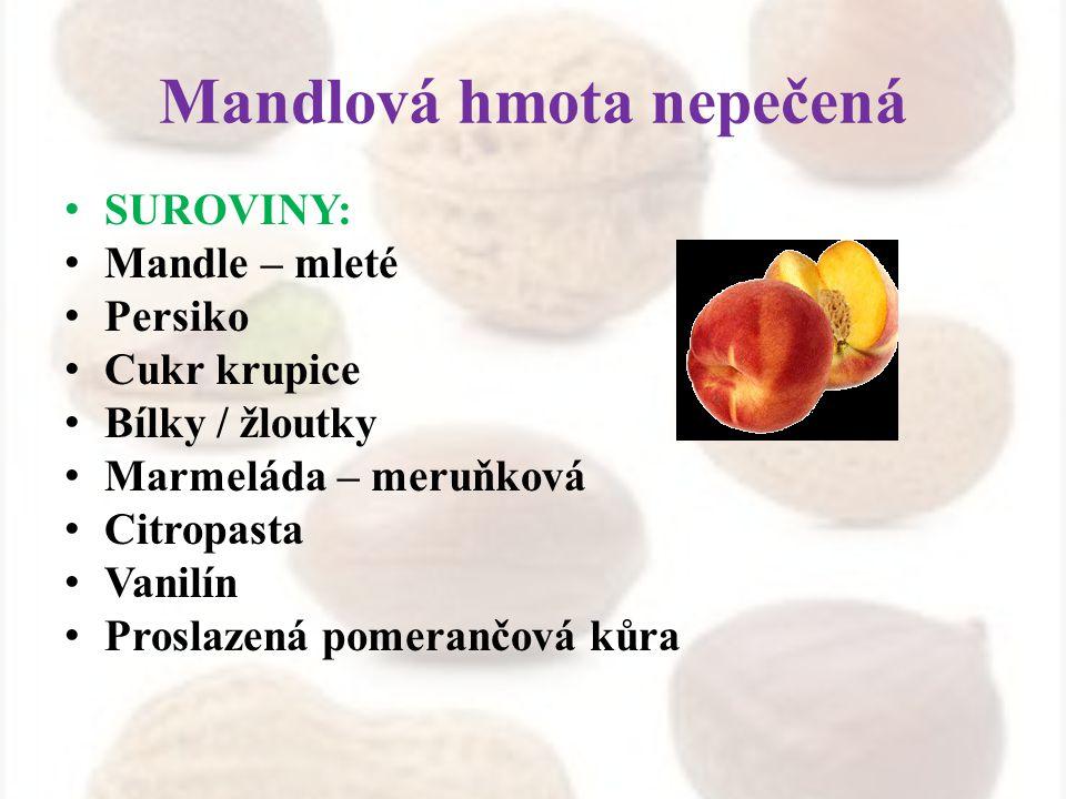 Mandlová hmota nepečená SUROVINY: Mandle – mleté Persiko Cukr krupice Bílky / žloutky Marmeláda – meruňková Citropasta Vanilín Proslazená pomerančová