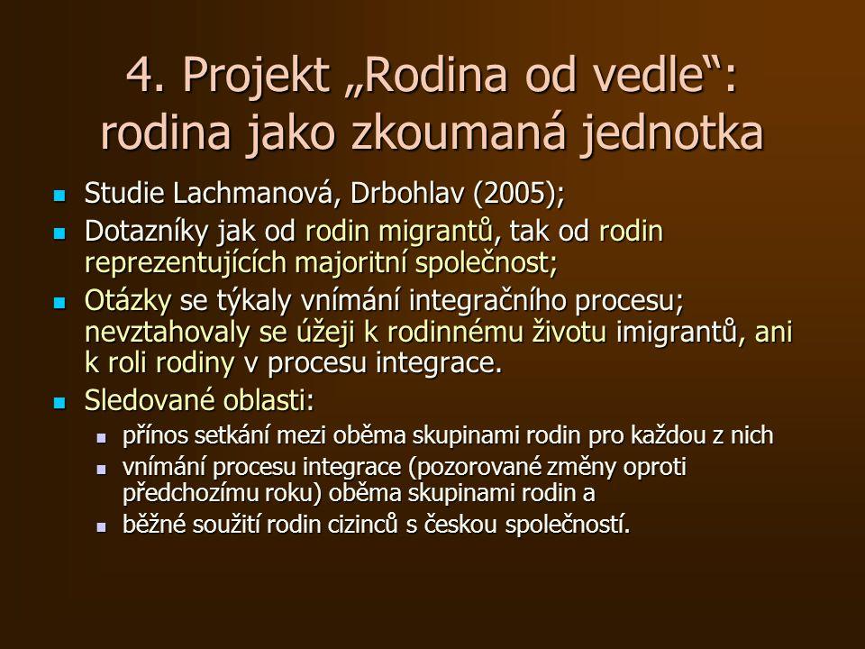 """4. Projekt """"Rodina od vedle"""": rodina jako zkoumaná jednotka Studie Lachmanová, Drbohlav (2005); Studie Lachmanová, Drbohlav (2005); Dotazníky jak od r"""