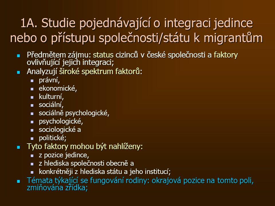 1.B Aspekty týkající se fungování rodiny reflektované těmito studiemi Status migrantů (a jejich rodin) ve společnosti (Ivan Gabal Analysis & Consulting 2004); Status migrantů (a jejich rodin) ve společnosti (Ivan Gabal Analysis & Consulting 2004); Životní podmínky, sociální zabezpečení (Nešporová 2007); Životní podmínky, sociální zabezpečení (Nešporová 2007); Vzdělávání, integrace na školách (Drbohlav, Černík, Dzurová 2005, Janská 2006); Vzdělávání, integrace na školách (Drbohlav, Černík, Dzurová 2005, Janská 2006); Soužití migrantů a majority.