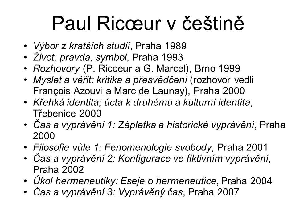 Paul Ricœur v češtině Výbor z kratších studií, Praha 1989 Život, pravda, symbol, Praha 1993 Rozhovory (P.