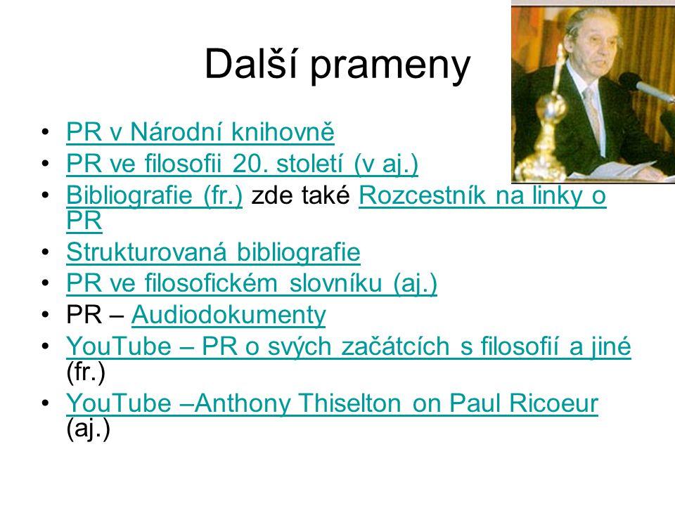 Další prameny PR v Národní knihovně PR ve filosofii 20.