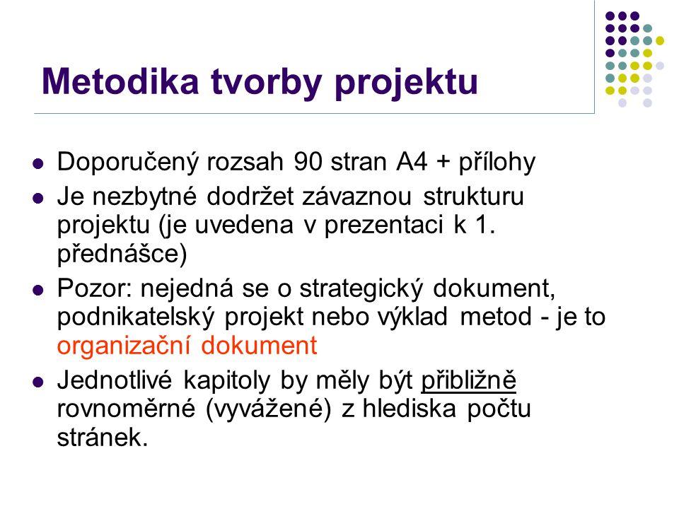 Metodika tvorby projektu Doporučený rozsah 90 stran A4 + přílohy Je nezbytné dodržet závaznou strukturu projektu (je uvedena v prezentaci k 1. přednáš