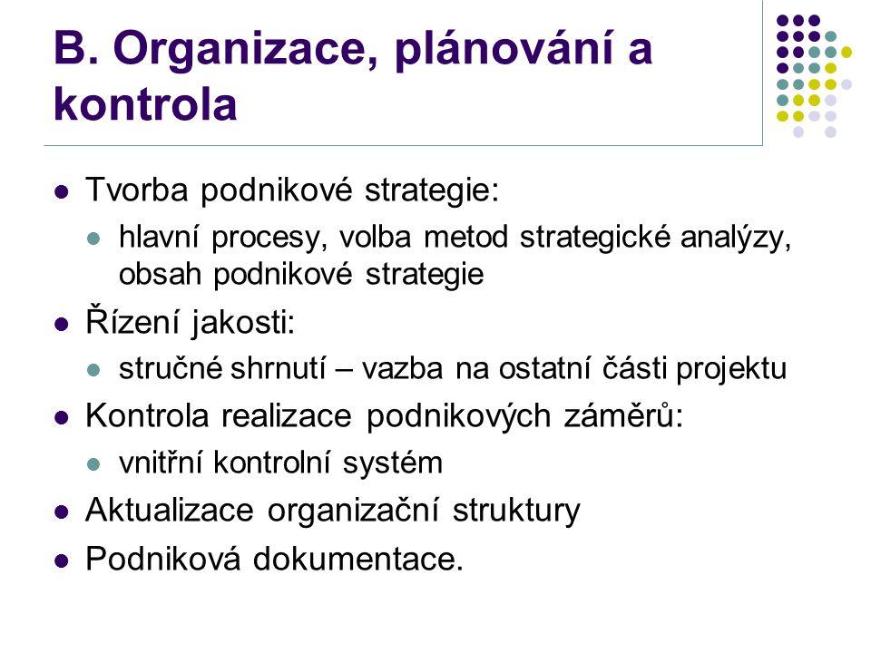 B. Organizace, plánování a kontrola Tvorba podnikové strategie: hlavní procesy, volba metod strategické analýzy, obsah podnikové strategie Řízení jako
