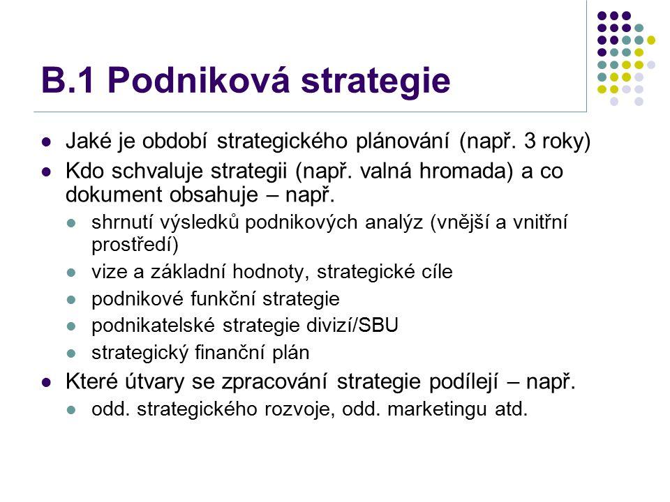B.1 Podniková strategie Jaké je období strategického plánování (např. 3 roky) Kdo schvaluje strategii (např. valná hromada) a co dokument obsahuje – n