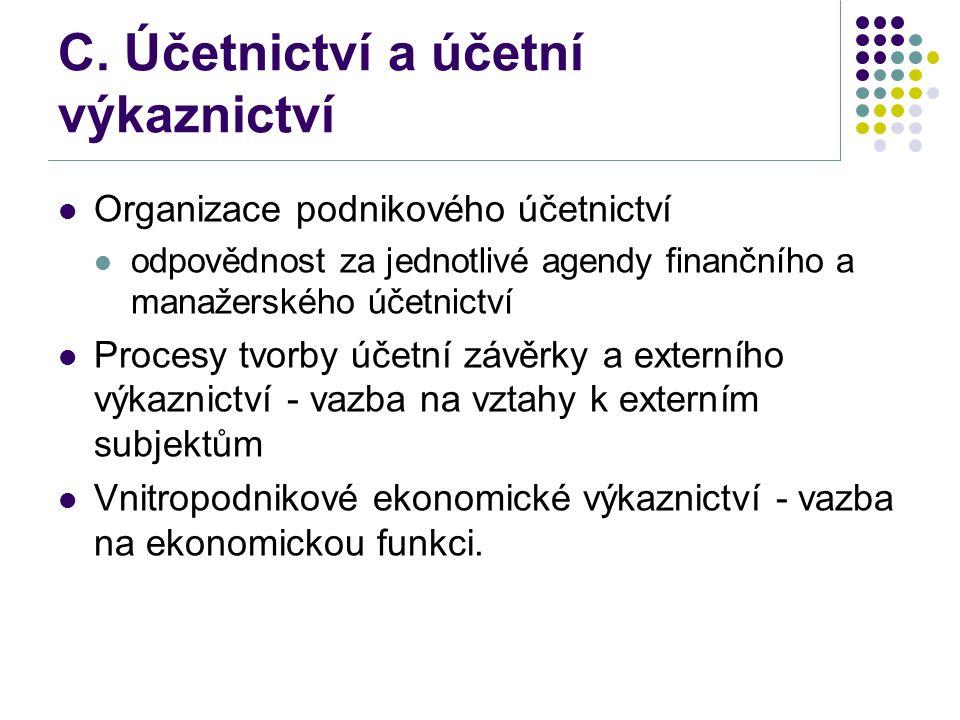 C. Účetnictví a účetní výkaznictví Organizace podnikového účetnictví odpovědnost za jednotlivé agendy finančního a manažerského účetnictví Procesy tvo