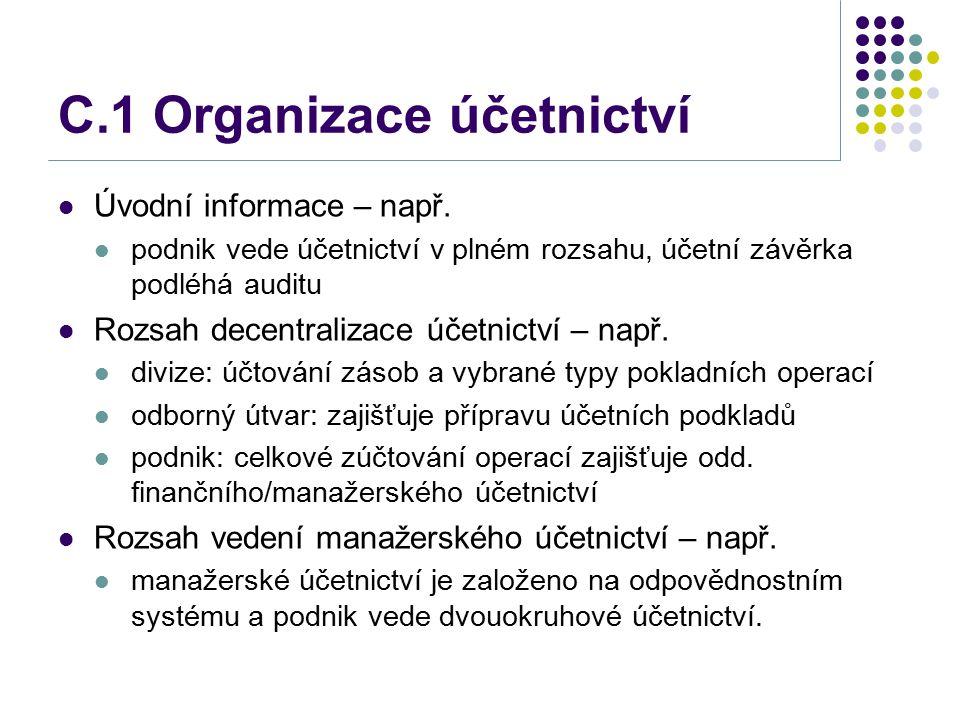C.1 Organizace účetnictví Úvodní informace – např. podnik vede účetnictví v plném rozsahu, účetní závěrka podléhá auditu Rozsah decentralizace účetnic