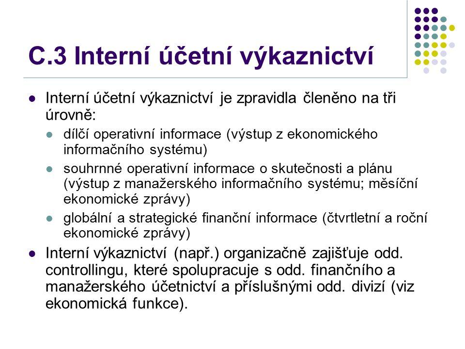 C.3 Interní účetní výkaznictví Interní účetní výkaznictví je zpravidla členěno na tři úrovně: dílčí operativní informace (výstup z ekonomického inform