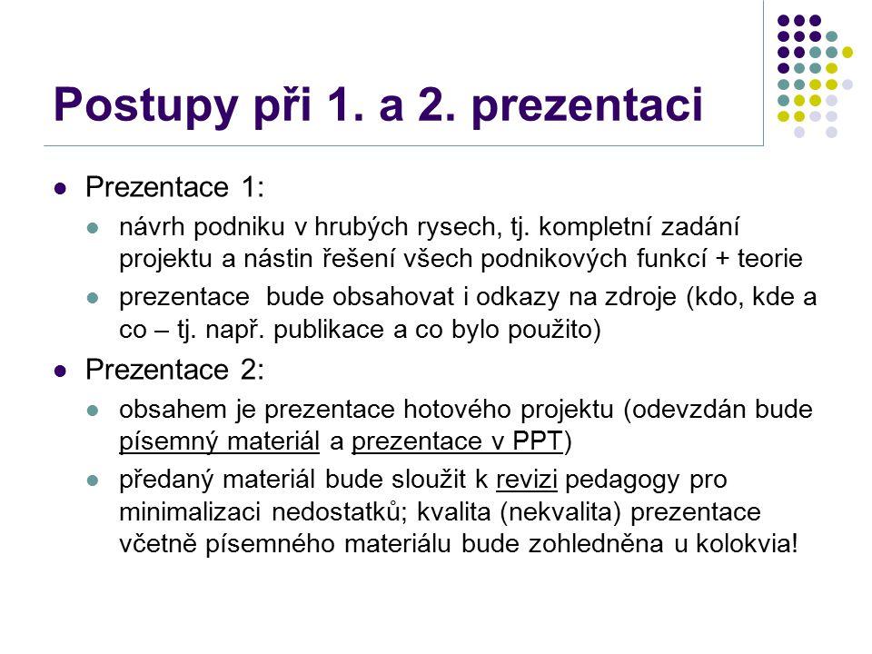 Postupy při 1. a 2. prezentaci Prezentace 1: návrh podniku v hrubých rysech, tj. kompletní zadání projektu a nástin řešení všech podnikových funkcí +