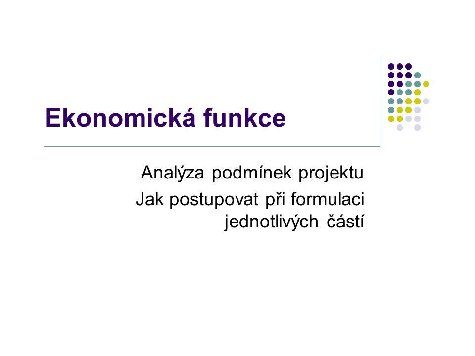 Ekonomická funkce Analýza podmínek projektu Jak postupovat při formulaci jednotlivých částí