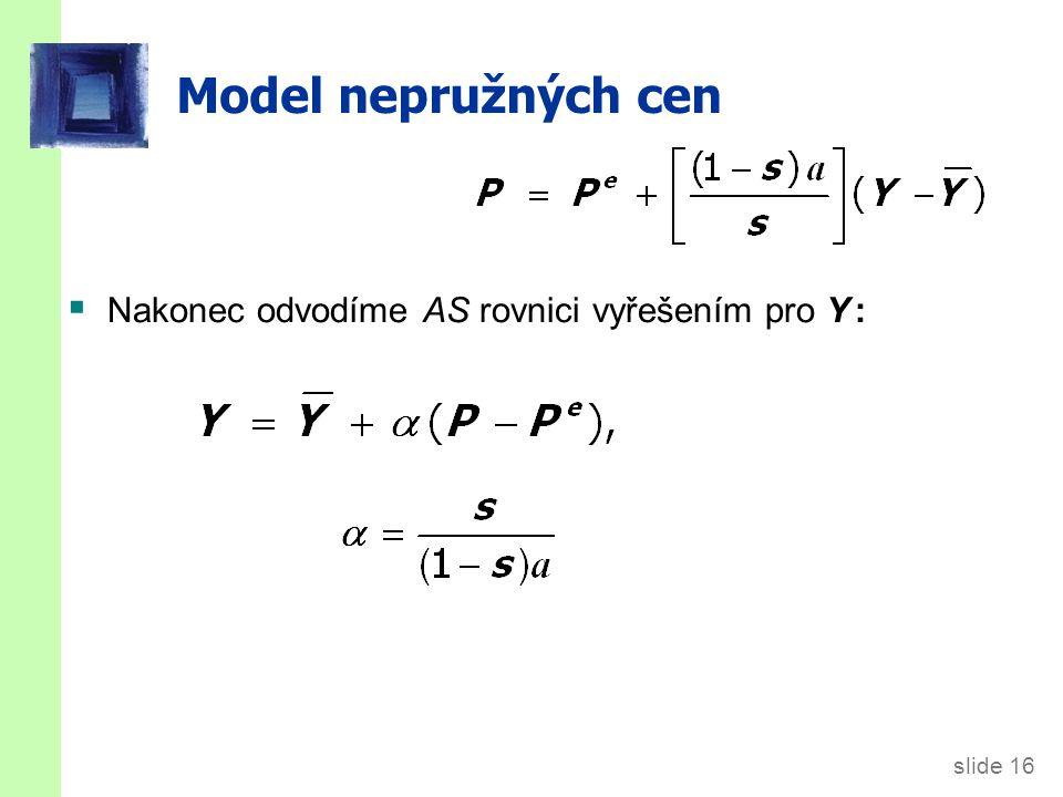 slide 16 Model nepružných cen  Nakonec odvodíme AS rovnici vyřešením pro Y :