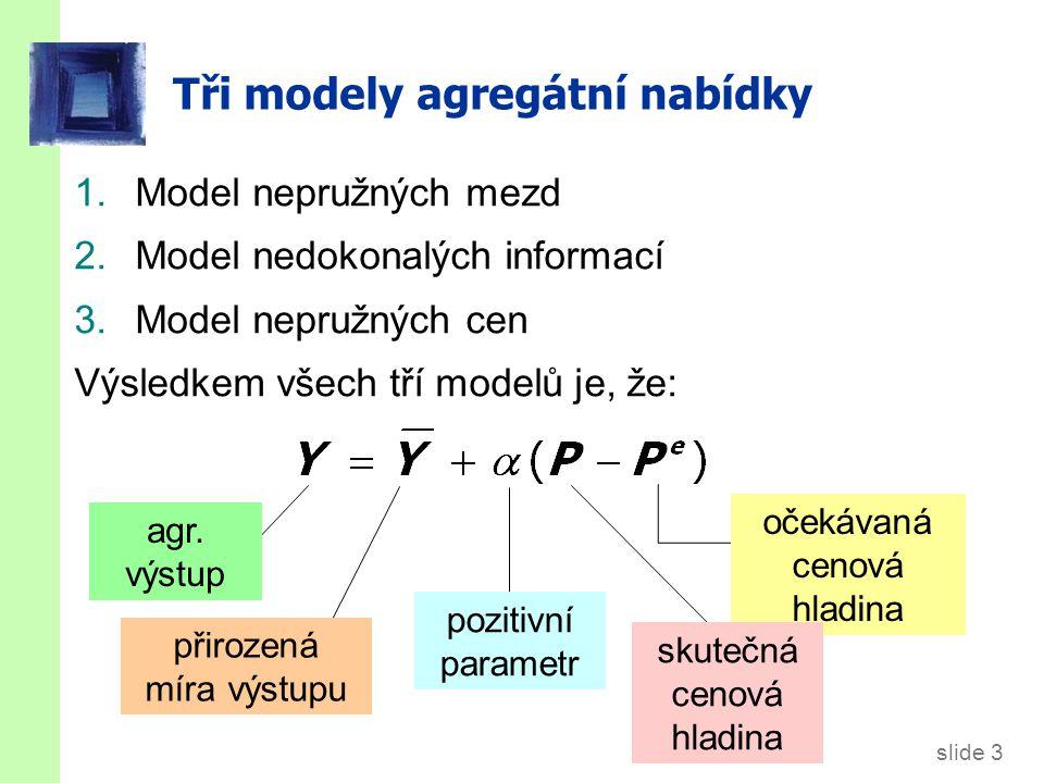 slide 3 Tři modely agregátní nabídky 1.Model nepružných mezd 2.Model nedokonalých informací 3.Model nepružných cen Výsledkem všech tří modelů je, že: přirozená míra výstupu pozitivní parametr očekávaná cenová hladina skutečná cenová hladina agr.
