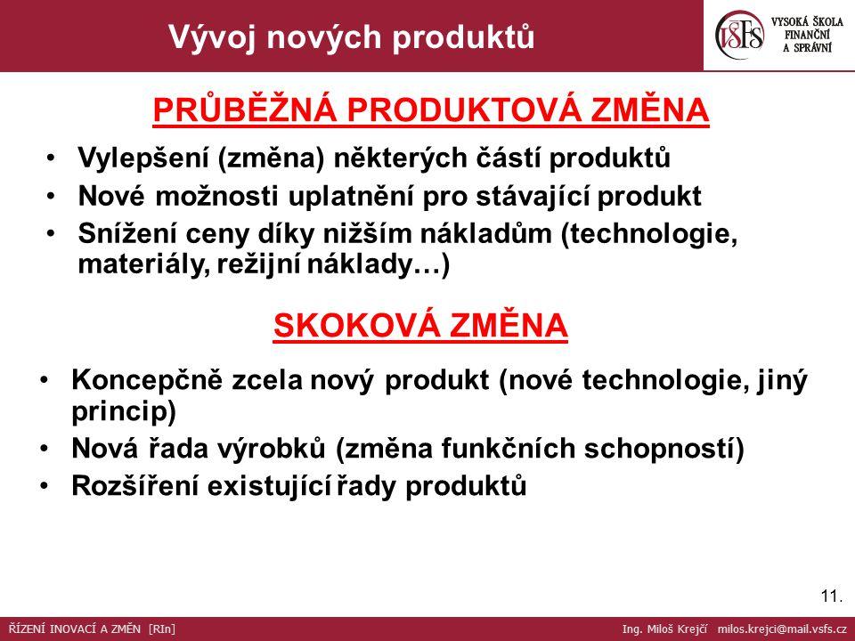 11. Vývoj nových produktů Vylepšení (změna) některých částí produktů Nové možnosti uplatnění pro stávající produkt Snížení ceny díky nižším nákladům (