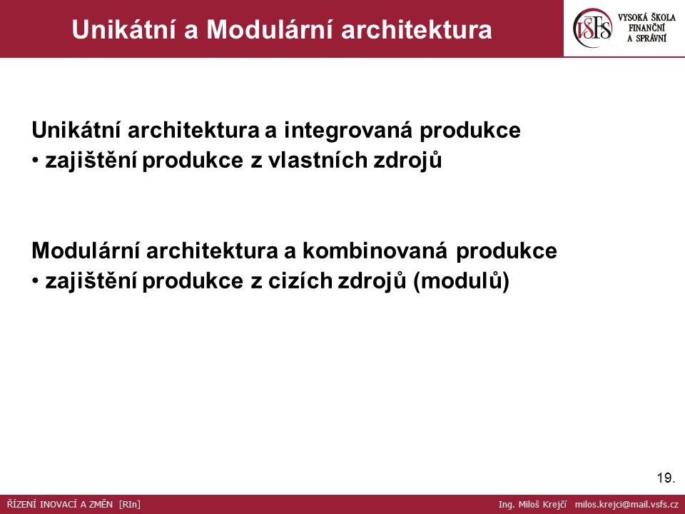 19. Unikátní a Modulární architektura Unikátní architektura a integrovaná produkce zajištění produkce z vlastních zdrojů Modulární architektura a komb