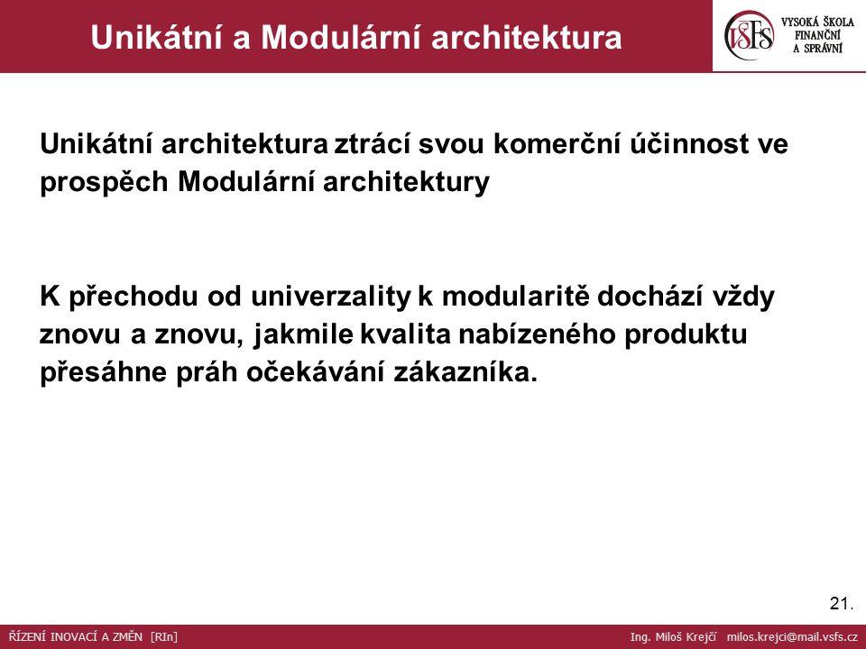 21. Unikátní a Modulární architektura Unikátní architektura ztrácí svou komerční účinnost ve prospěch Modulární architektury K přechodu od univerzalit