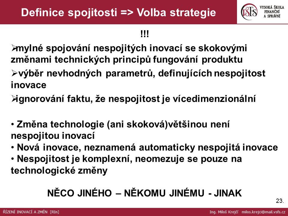 23. Definice spojitosti => Volba strategie !!.