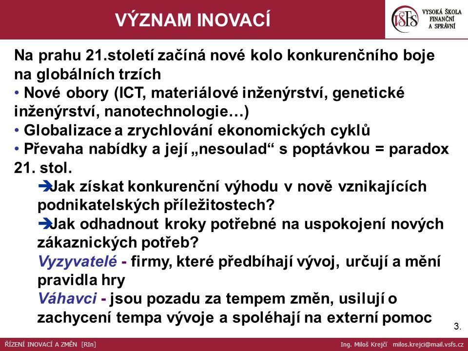 14. ŘÍZENÍ INOVACÍ A ZMĚN ŘÍZENÍ INOVACÍ A ZMĚN [RIn] Ing. Miloš Krejčí milos.krejci@mail.vsfs.cz