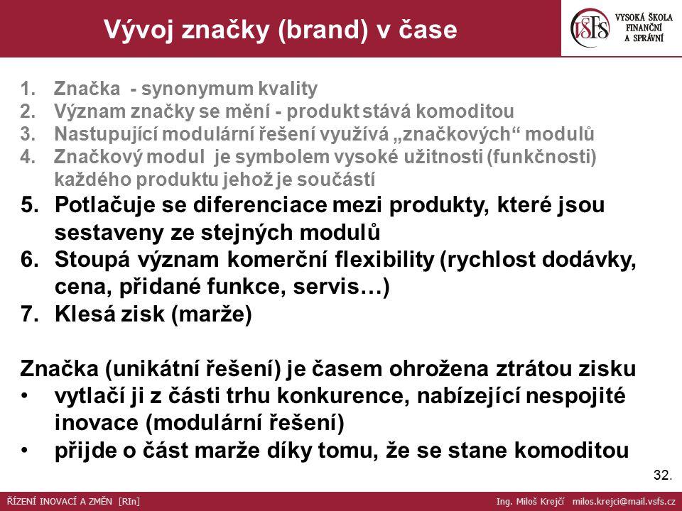 32. Vývoj značky (brand) v čase 1.Značka - synonymum kvality 2.Význam značky se mění - produkt stává komoditou 3.Nastupující modulární řešení využívá