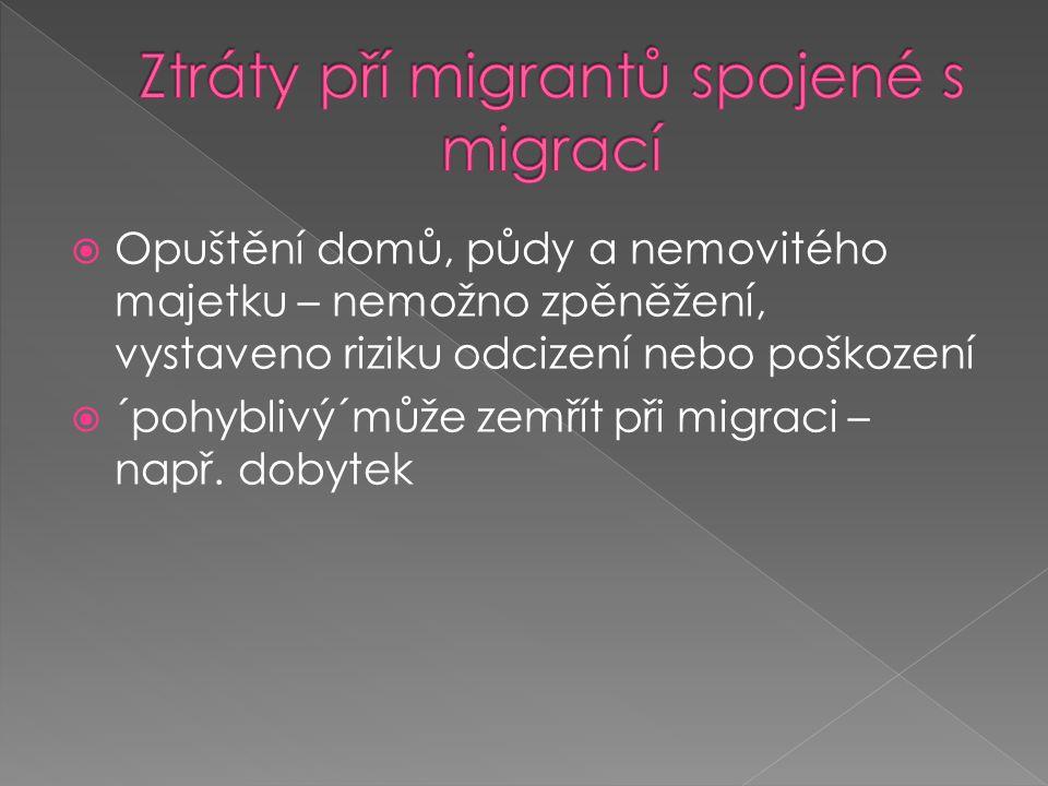  Opuštění domů, půdy a nemovitého majetku – nemožno zpěněžení, vystaveno riziku odcizení nebo poškození  ´pohyblivý´může zemřít při migraci – např.