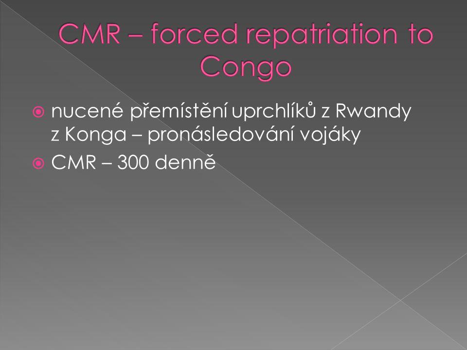  nucené přemístění uprchlíků z Rwandy z Konga – pronásledování vojáky  CMR – 300 denně