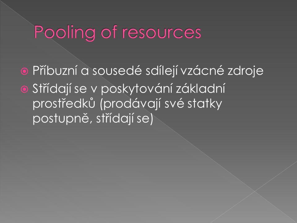  Příbuzní a sousedé sdílejí vzácné zdroje  Střídají se v poskytování základní prostředků (prodávají své statky postupně, střídají se)