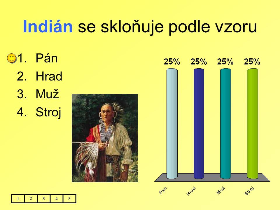 Indián se skloňuje podle vzoru 12345 1.Pán 2.Hrad 3.Muž 4.Stroj