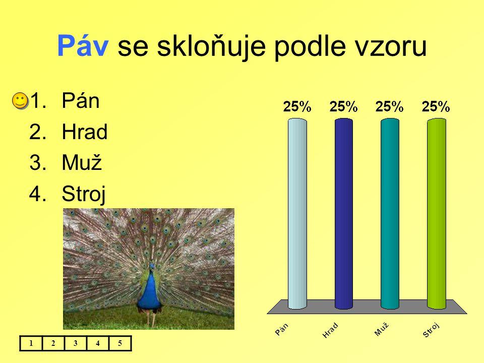 Páv se skloňuje podle vzoru 12345 1.Pán 2.Hrad 3.Muž 4.Stroj