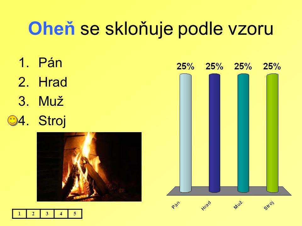 Oheň se skloňuje podle vzoru 12345 1.Pán 2.Hrad 3.Muž 4.Stroj