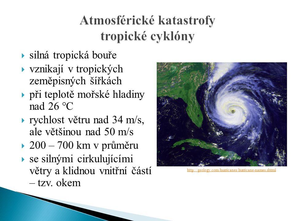  silná tropická bouře  vznikají v tropických zeměpisných šířkách  při teplotě mořské hladiny nad 26 °C  rychlost větru nad 34 m/s, ale většinou na