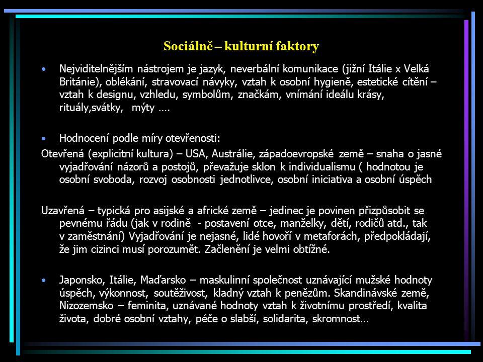 Sociálně – kulturní faktory Nejviditelnějším nástrojem je jazyk, neverbální komunikace (jižní Itálie x Velká Británie), oblékání, stravovací návyky, v