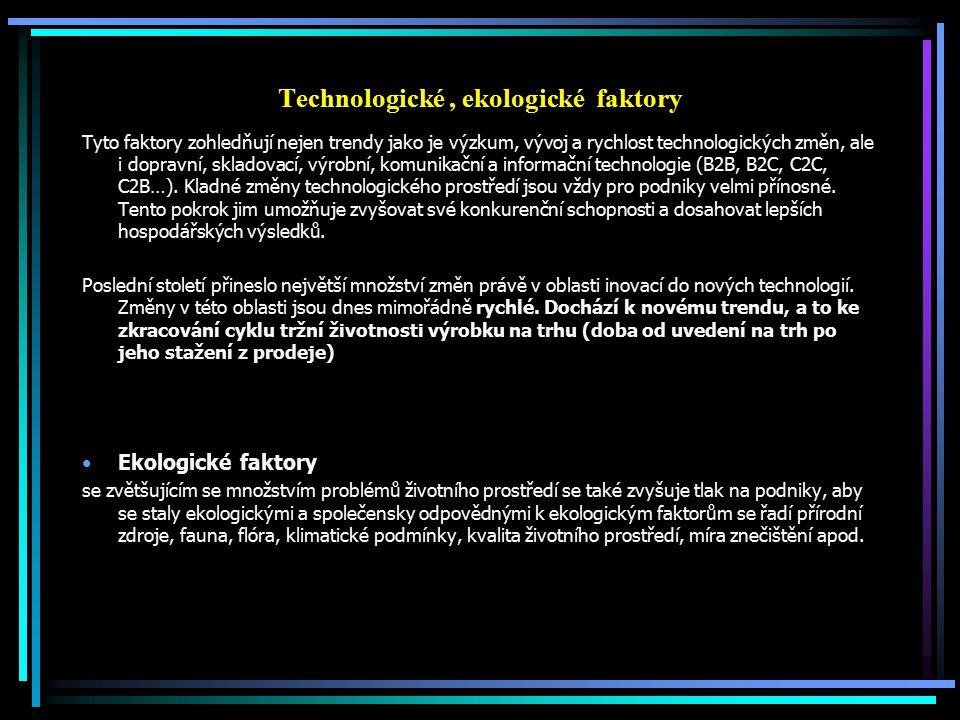 Technologické, ekologické faktory Tyto faktory zohledňují nejen trendy jako je výzkum, vývoj a rychlost technologických změn, ale i dopravní, skladova