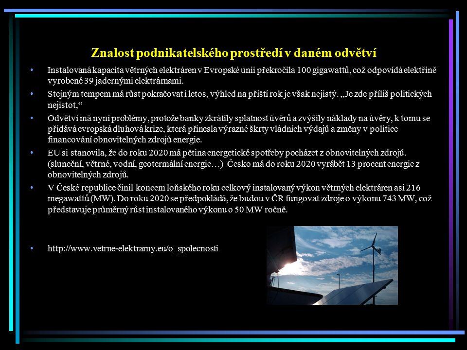 Znalost podnikatelského prostředí v daném odvětví Instalovaná kapacita větrných elektráren v Evropské unii překročila 100 gigawattů, což odpovídá elek