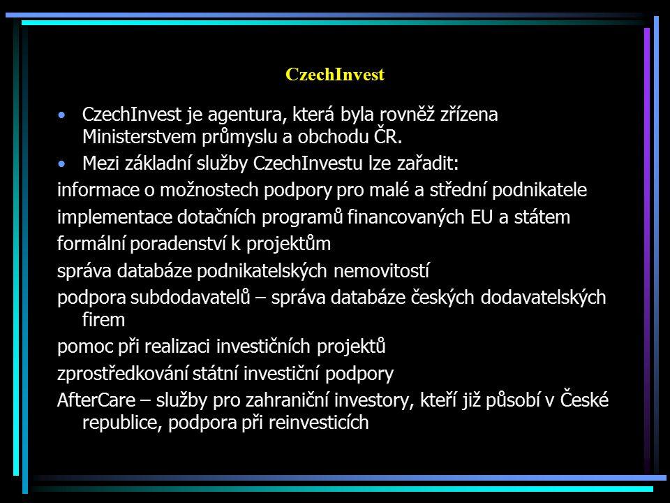 CzechInvest CzechInvest je agentura, která byla rovněž zřízena Ministerstvem průmyslu a obchodu ČR. Mezi základní služby CzechInvestu lze zařadit: inf