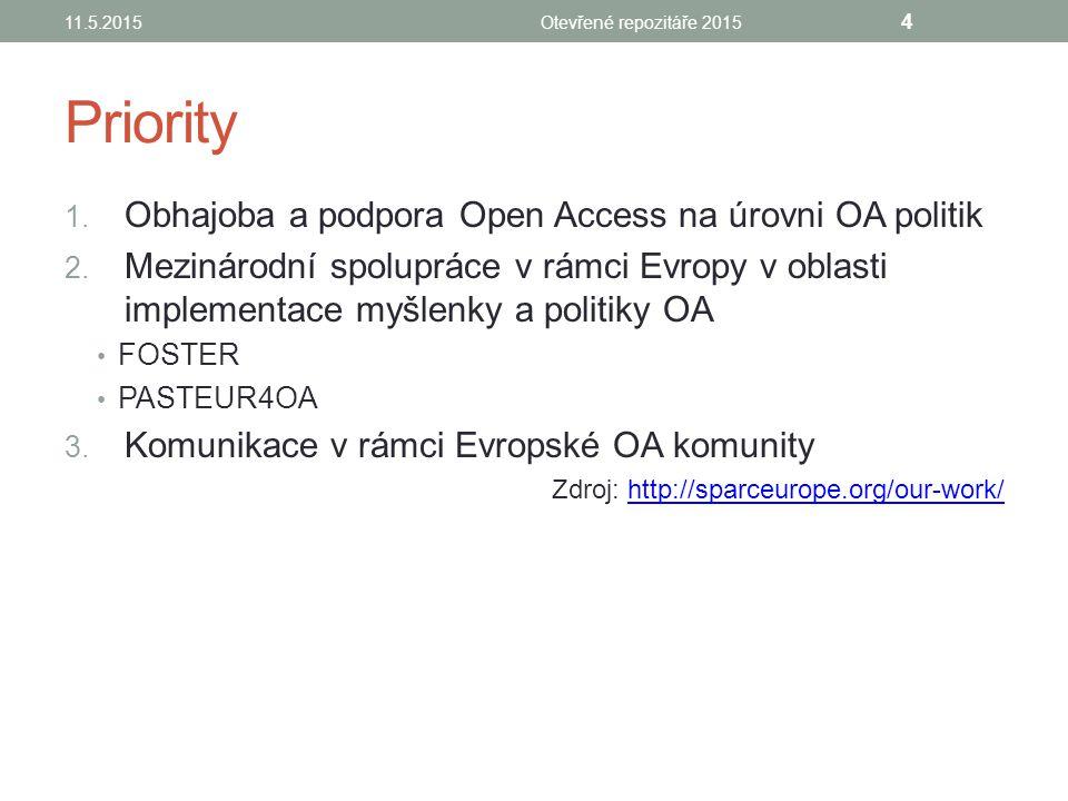Priority 1. Obhajoba a podpora Open Access na úrovni OA politik 2.