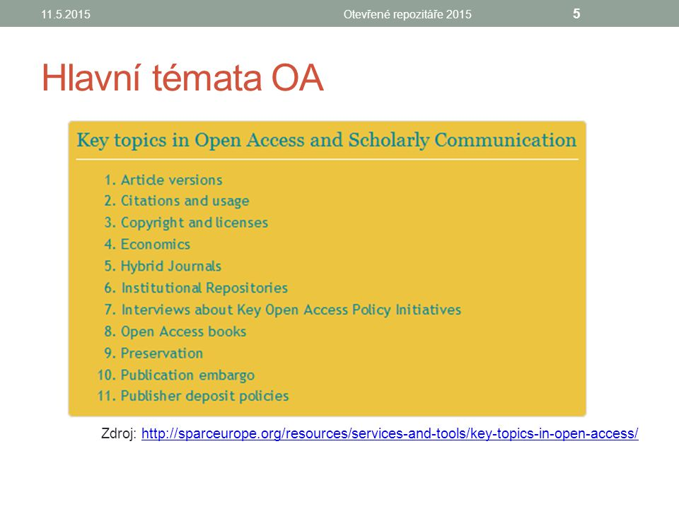 Hlavní témata OA Zdroj: http://sparceurope.org/resources/services-and-tools/key-topics-in-open-access/http://sparceurope.org/resources/services-and-tools/key-topics-in-open-access/ 11.5.2015Otevřené repozitáře 2015 5