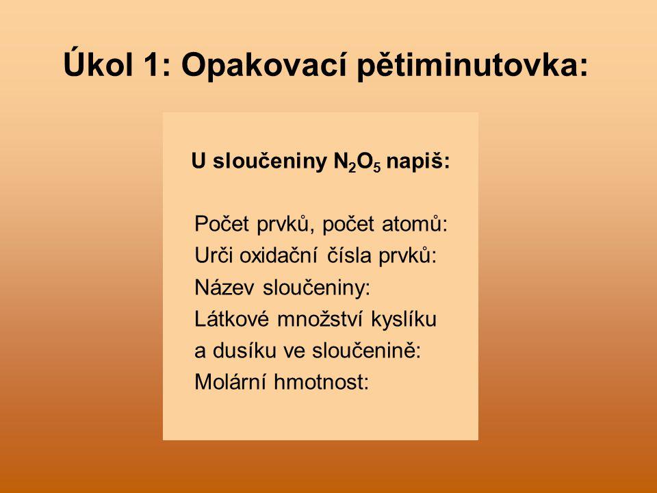 Úkol 1: Opakovací pětiminutovka: U sloučeniny N 2 O 5 napiš: Počet prvků, počet atomů: Urči oxidační čísla prvků: Název sloučeniny: Látkové množství kyslíku a dusíku ve sloučenině: Molární hmotnost:
