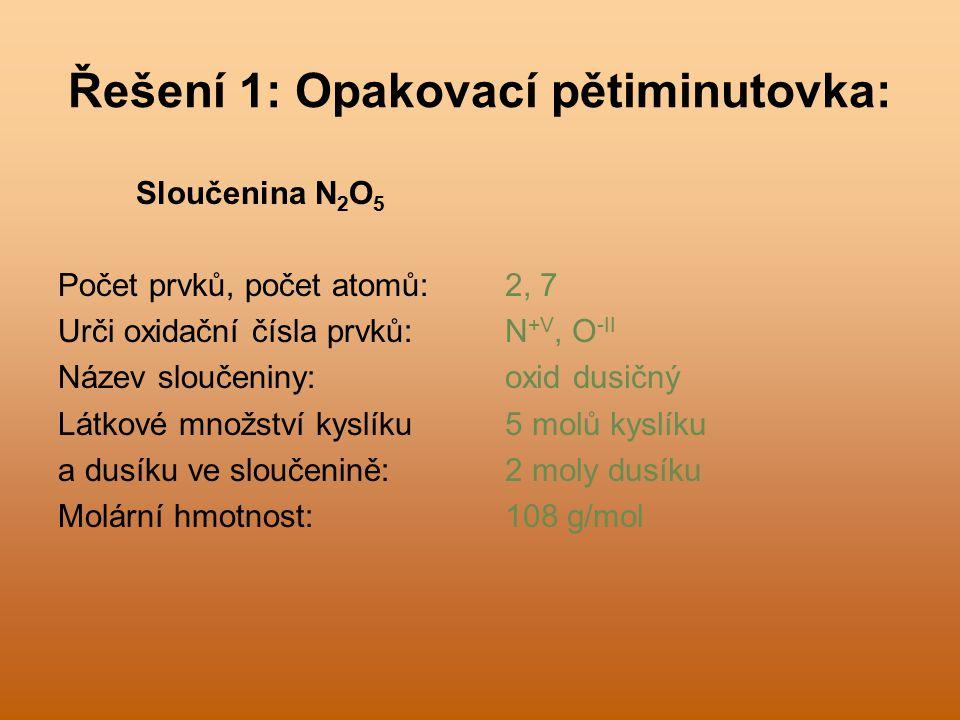 Řešení 1: Opakovací pětiminutovka: Sloučenina N 2 O 5 Počet prvků, počet atomů: Urči oxidační čísla prvků: Název sloučeniny: Látkové množství kyslíku a dusíku ve sloučenině: Molární hmotnost: 2, 7 N +V, O -II oxid dusičný 5 molů kyslíku 2 moly dusíku 108 g/mol
