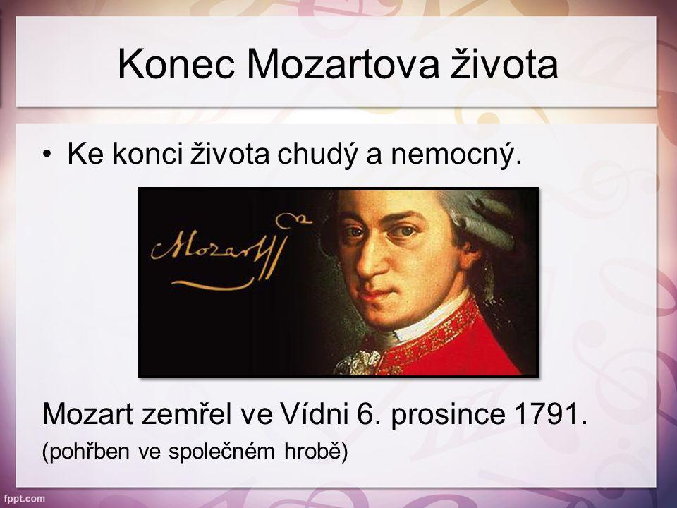 Konec Mozartova života Ke konci života chudý a nemocný.