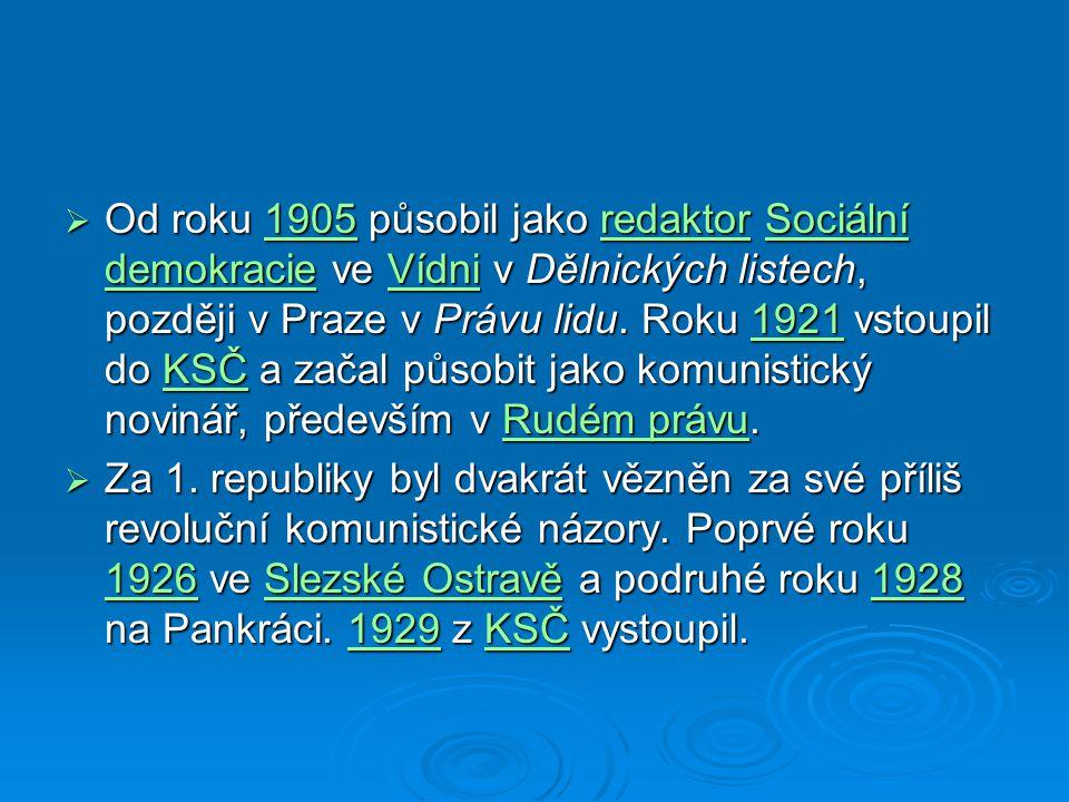  Od roku 1905 působil jako redaktor Sociální demokracie ve Vídni v Dělnických listech, později v Praze v Právu lidu.