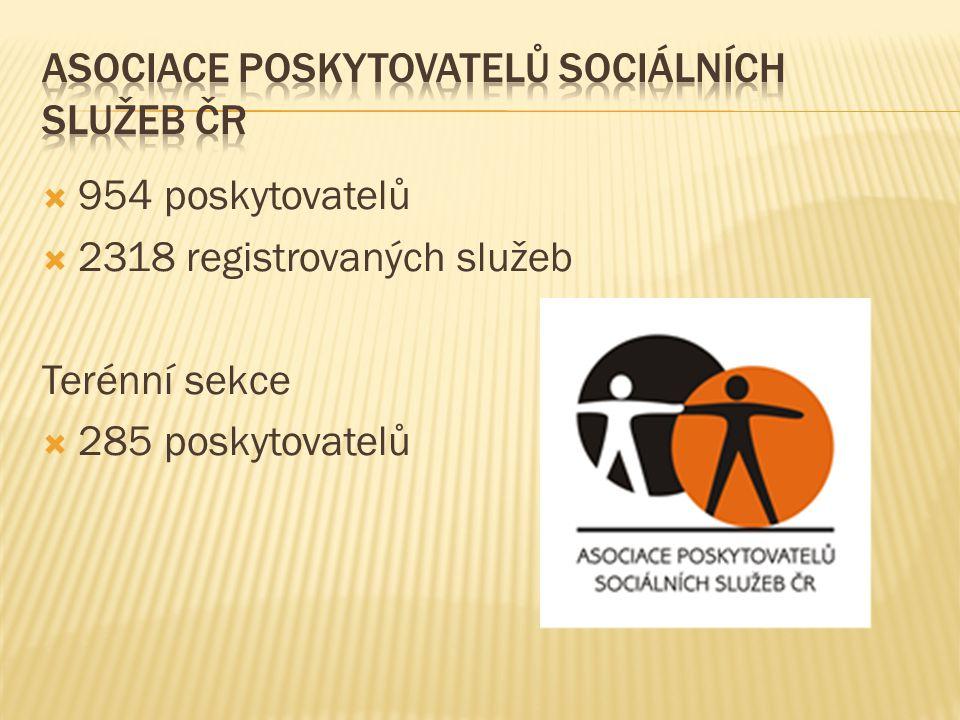  954 poskytovatelů  2318 registrovaných služeb Terénní sekce  285 poskytovatelů