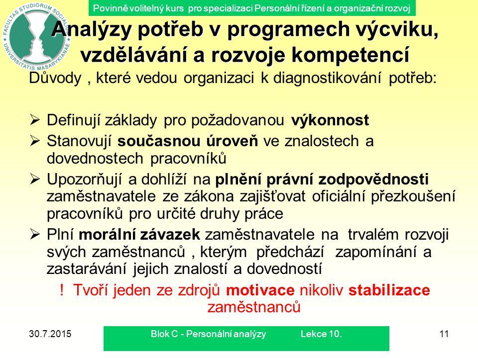 Povinně volitelný kurs pro specializaci Personální řízení a organizační rozvoj 30.7.2015Blok C - Personální analýzy Lekce 10.11 Analýzy potřeb v progr