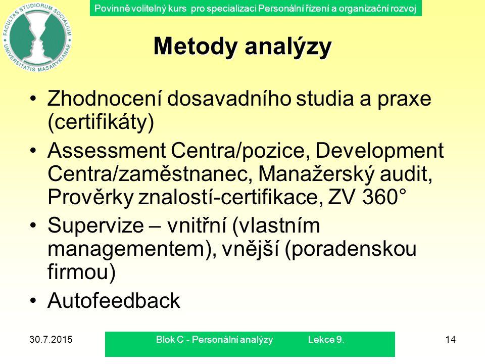 Povinně volitelný kurs pro specializaci Personální řízení a organizační rozvoj Metody analýzy Zhodnocení dosavadního studia a praxe (certifikáty) Asse