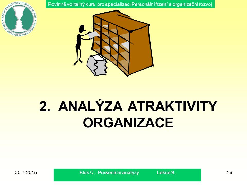 Povinně volitelný kurs pro specializaci Personální řízení a organizační rozvoj 2. ANALÝZA ATRAKTIVITY ORGANIZACE 30.7.2015Blok C - Personální analýzy