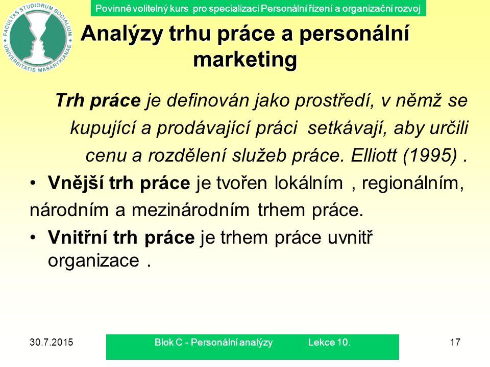 Povinně volitelný kurs pro specializaci Personální řízení a organizační rozvoj 30.7.2015Blok C - Personální analýzy Lekce 10.17 Analýzy trhu práce a p