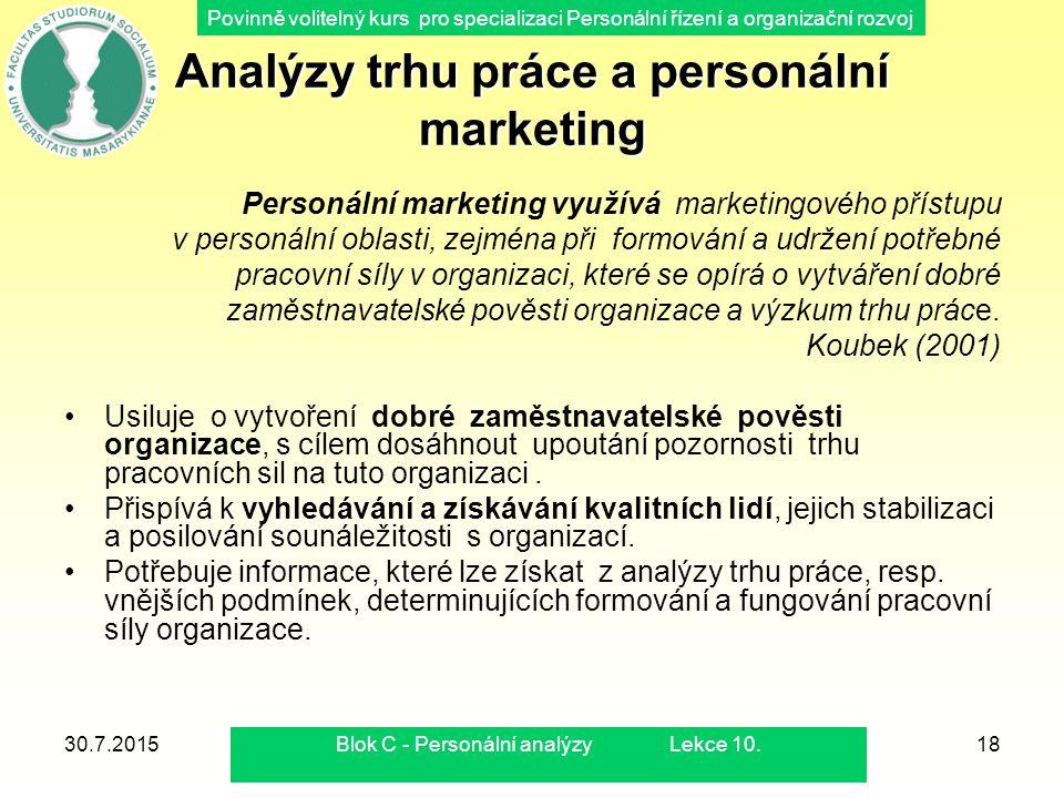 Povinně volitelný kurs pro specializaci Personální řízení a organizační rozvoj 30.7.2015Blok C - Personální analýzy Lekce 10.18 Analýzy trhu práce a p