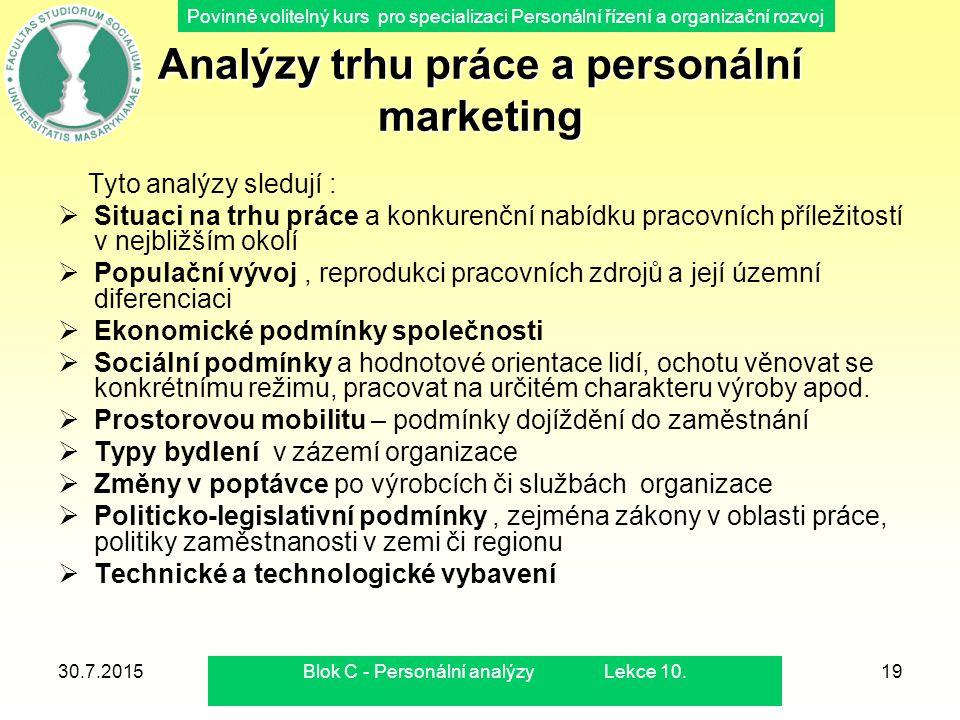 Povinně volitelný kurs pro specializaci Personální řízení a organizační rozvoj 30.7.2015Blok C - Personální analýzy Lekce 10.19 Analýzy trhu práce a p
