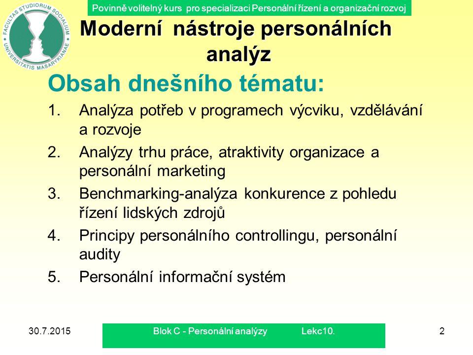 Povinně volitelný kurs pro specializaci Personální řízení a organizační rozvoj 30.7.2015Blok C - Personální analýzy Lekc10.2 Moderní nástroje personál