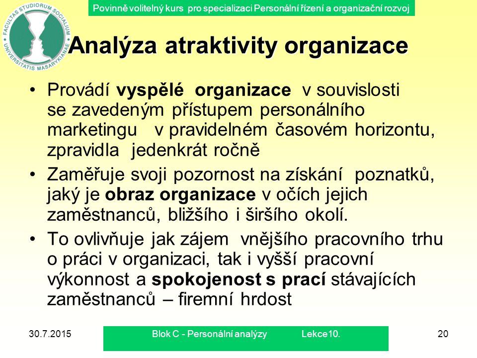 Povinně volitelný kurs pro specializaci Personální řízení a organizační rozvoj 30.7.2015Blok C - Personální analýzy Lekce10.20 Analýza atraktivity org
