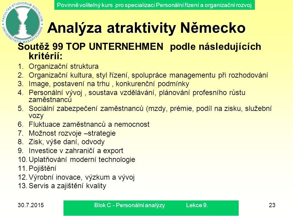 Povinně volitelný kurs pro specializaci Personální řízení a organizační rozvoj Analýza atraktivity Německo Soutěž 99 TOP UNTERNEHMEN podle následující